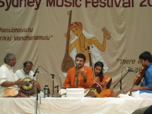 Srimushnam RajaRao, TMKrishna and SV Murthy on ghatam and Varadarajan on Violin